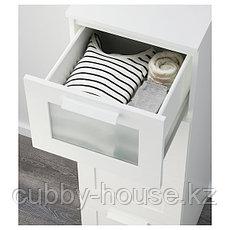 БРИМНЭС Комод с 4 ящиками, (белый, чёрный) матовое стекло, 39x124 см, фото 3