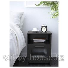 БРИМНЭС Тумба прикроватная, (белый, чёрный) 39x41 см, фото 3