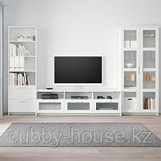 БРИМНЭС Шкаф для ТВ, комбин/стеклян дверцы, (белый, чёрный) 320x41x190 см, фото 3