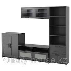 БРИМНЭС Шкаф для ТВ, комбинация, (белый, чёрный) 258x41x190 см, фото 2