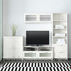 БРИМНЭС Шкаф для ТВ, комбинация, (белый, чёрный) 258x41x190 см, фото 3