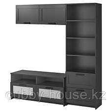 БРИМНЭС Шкаф для ТВ, комбинация, (белый, чёрный) 180x41x190 см, фото 2