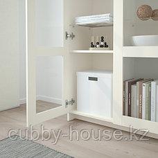БРИМНЭС Шкаф с дверями, стекло, (белый, черный), 78x95 см, фото 2