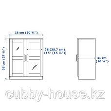 БРИМНЭС Шкаф с дверями, стекло, (белый, черный), 78x95 см, фото 3