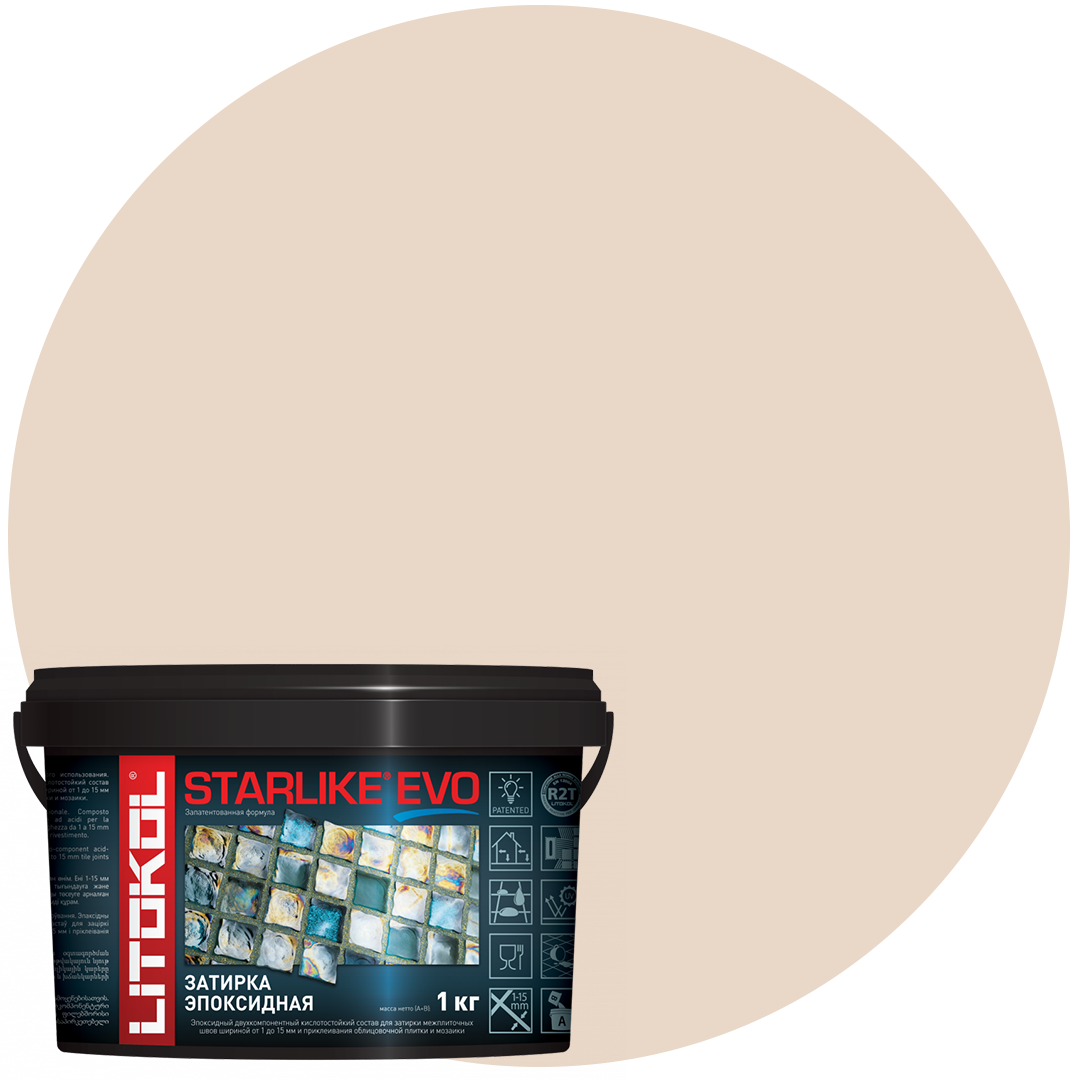 STARLIKE Defender EVO S.205 TRAVERTINO эпок сост для уклад и затир моз и керам плит (1,0 kg)