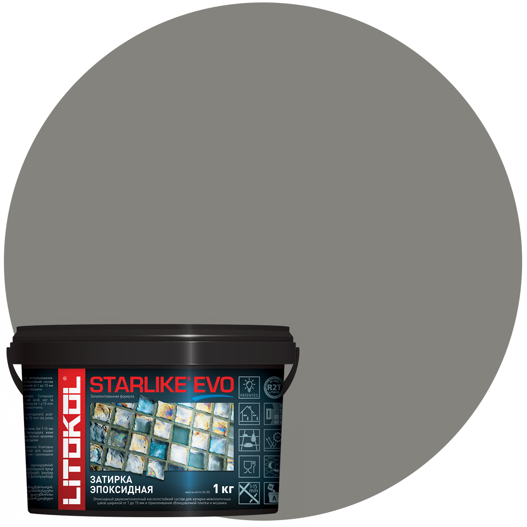 STARLIKE Defender EVO S.115 GRIGIO SETA эпок.сост.для уклад и затир мозаи и керами. плит(1,0 kg)