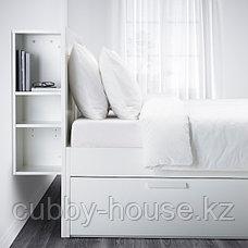 BRIMNES БРИМНЭС Каркас кровати с изголовьем, белый/Лурой180x200 см, фото 2