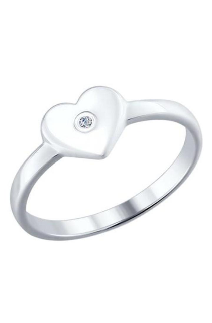 """Кольцо """" Сердце """" с бриллиантом / серебро"""