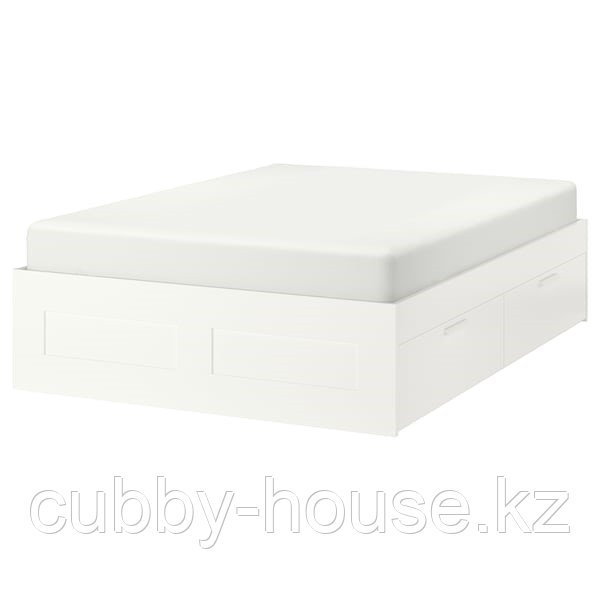 BRIMNES БРИМНЭС Каркас кровати с ящиками, белый180x200 см