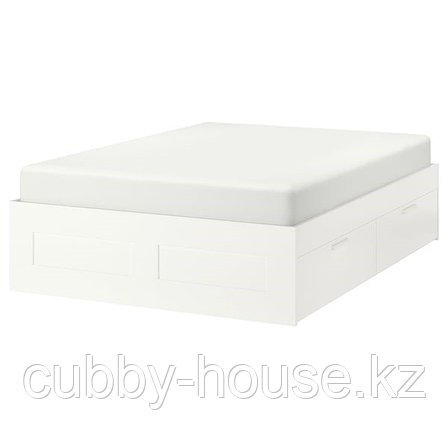 BRIMNES БРИМНЭС Каркас кровати с ящиками, белый180x200 см, фото 2
