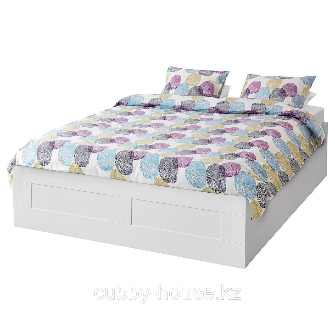 BRIMNES БРИМНЭС Кровать с подъемным механизмом, белый160x200 см