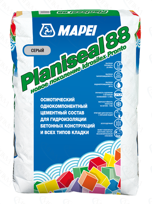 PLANISEAL 88 гидроизоляция бетонных и цементных оснований (25кг) Россия