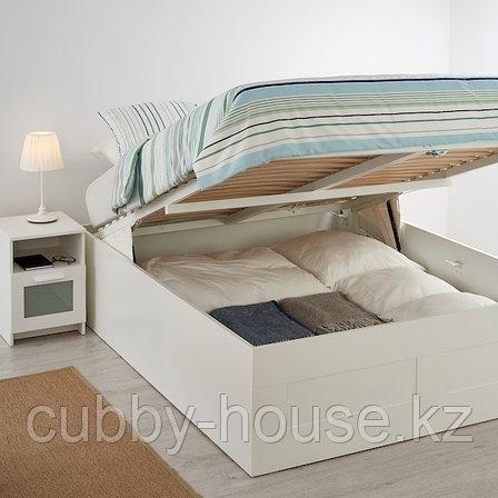 BRIMNES БРИМНЭС Кровать с подъемным механизмом, белый140x200 см, фото 2