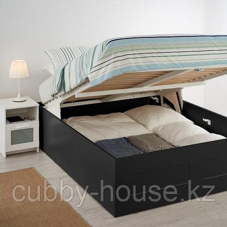 BRIMNES БРИМНЭС Кровать с подъемным механизмом, черный140x200 см, фото 2