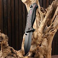 Нож складной полуавтоматический, рукоять с красными вставками, 10см, клинок 4см