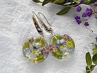 Серьги с полевыми цветами в эпоксидной смоле