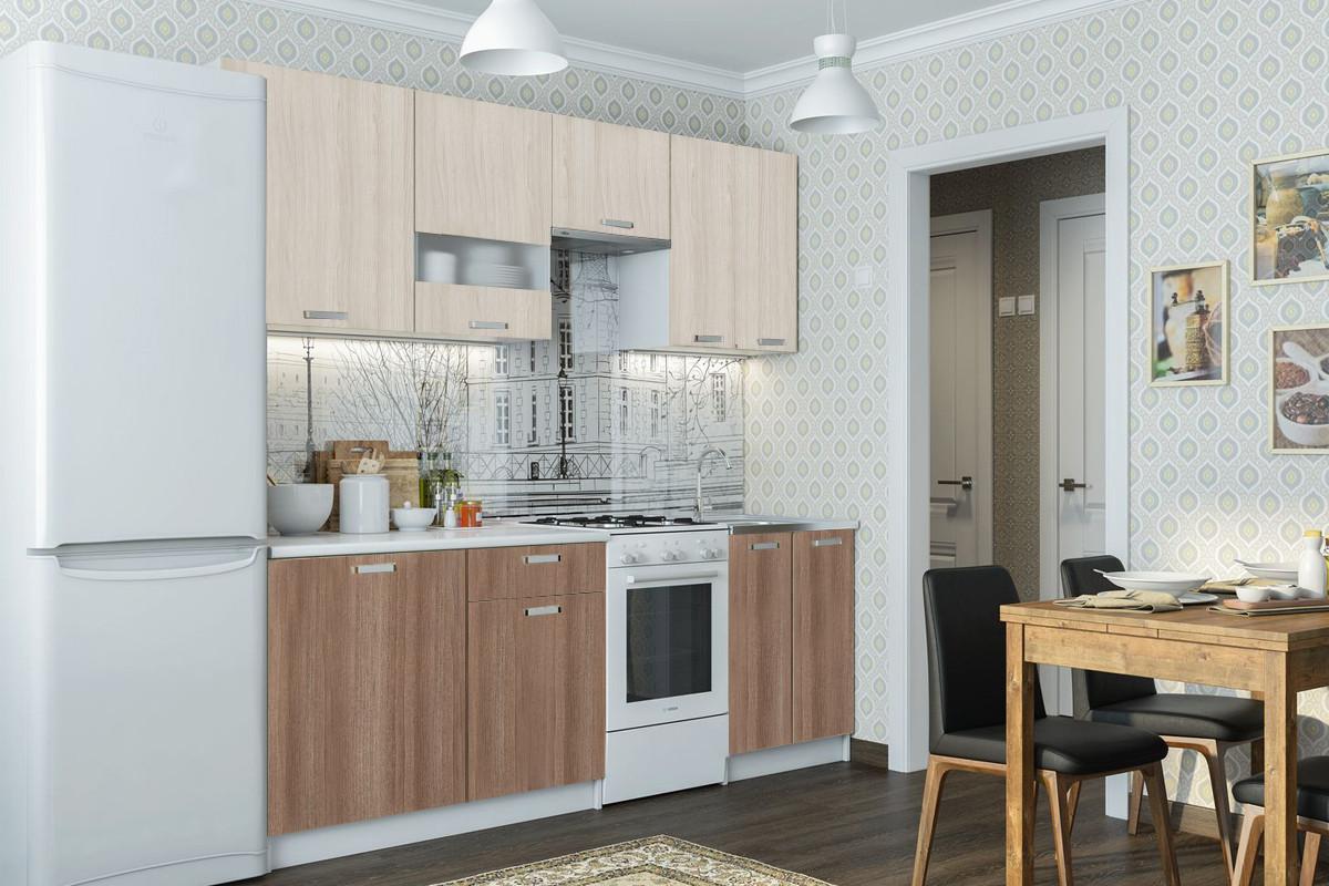 Комплект мебели для кухни Розалия 1700, Шимо темный/Ясень шимо светлый Шимо светлый/Шимо темный, СВ