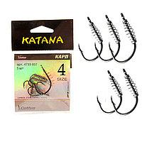 Крючки рыболовные с ушком пружиной клювообразным жалом набор 5 шт Katana 4 размер