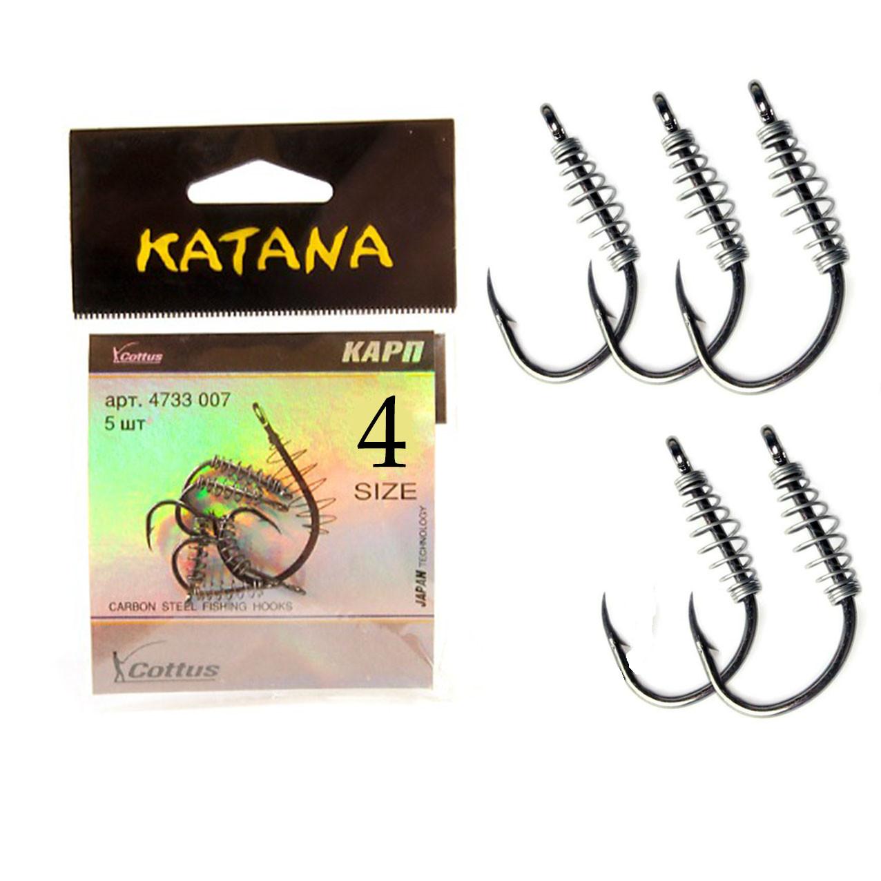 Крючки рыболовные с ушком пружиной клювообразным жалом набор 5 шт Katana 4 размер - фото 1