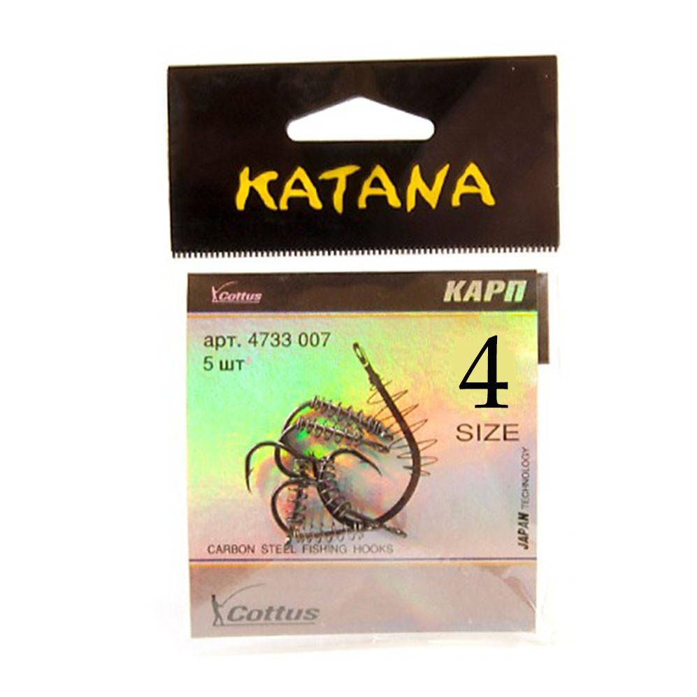 Крючки рыболовные с ушком пружиной клювообразным жалом набор 5 шт Katana 4 размер - фото 2