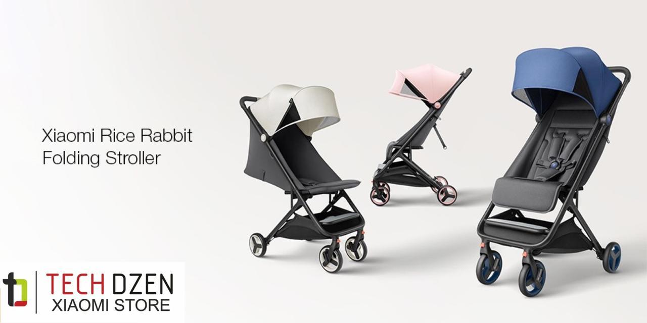 Детская коляска Xiaomi (Rice Rabbit) Folding Stroller (розовый, зеленый, серый)