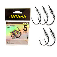 Крючки рыболовные с ушком пружиной клювообразным жалом набор 5 шт Katana 5 размер