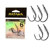 Крючки рыболовные с ушком пружиной клювообразным жалом набор 5 шт Katana 6 размер