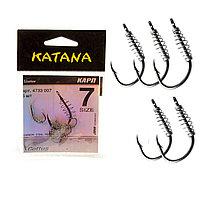 Крючки рыболовные с ушком пружиной клювообразным жалом набор 5 шт Katana 7 размер