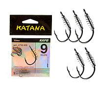 Крючки рыболовные с ушком пружиной клювообразным жалом набор 5 шт Katana 9 размер
