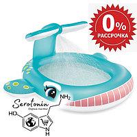 Детский надувной бассейн Кит с разбрызгивателем Intex 201х196х91
