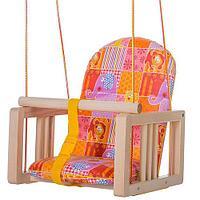 ГНОМ Качели деревянные подвесные мягкое сиденье Симпатия