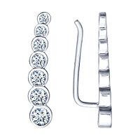Серьги из серебра с фианитом и эмалью SOKOLOV 94021653