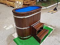 Купель кедровая, Овальная, 120*78*140/2,5 см, с пластиковой вставкой, Стандарт