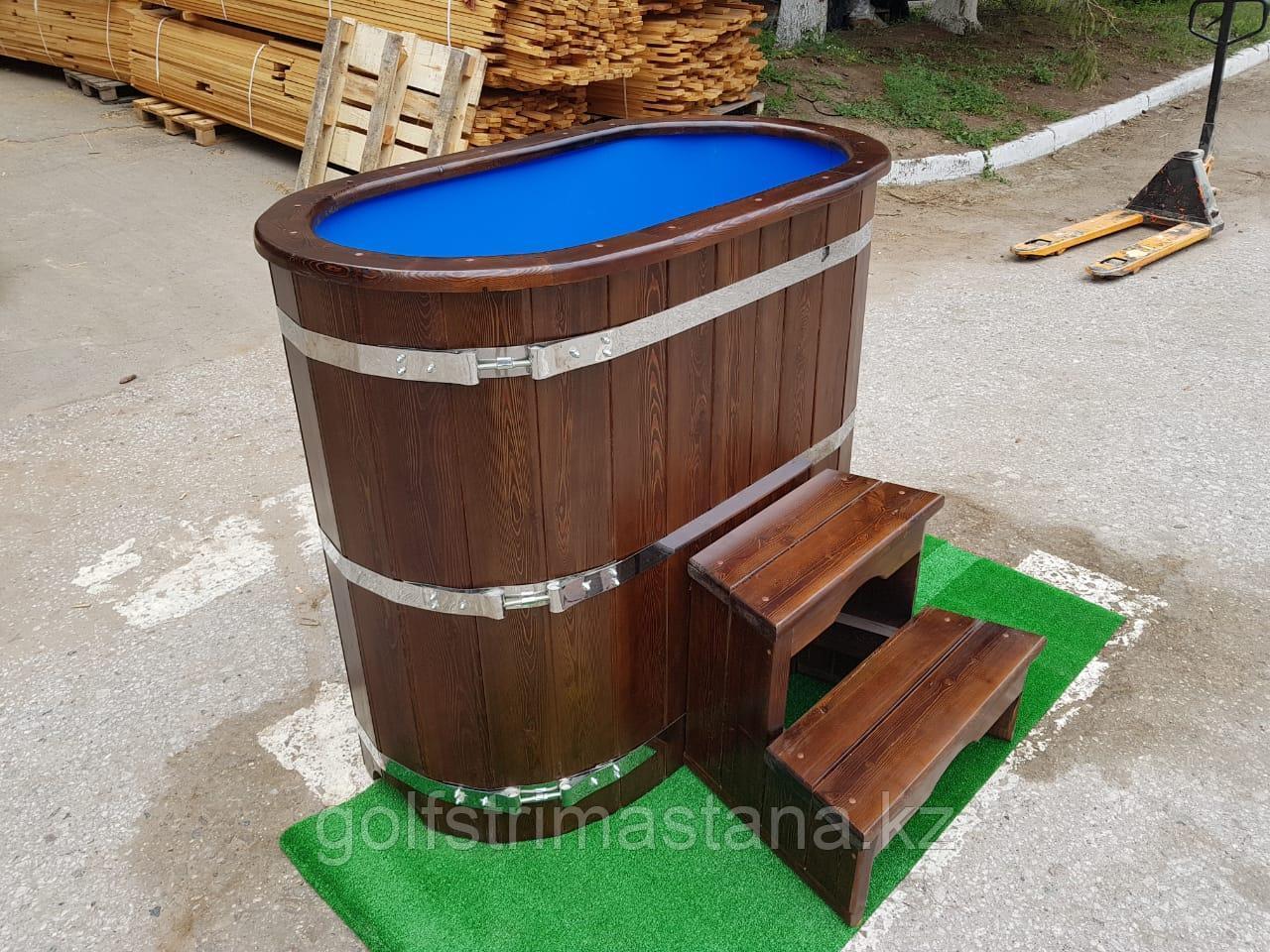 Купель кедровая, Овальная, 120*78*140/4 см, с пластиковой вставкой, Стандарт