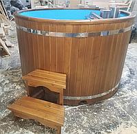 Купель кедровая, Круглая, 120*180/4 см, с пластиковой вставкой, Стандарт