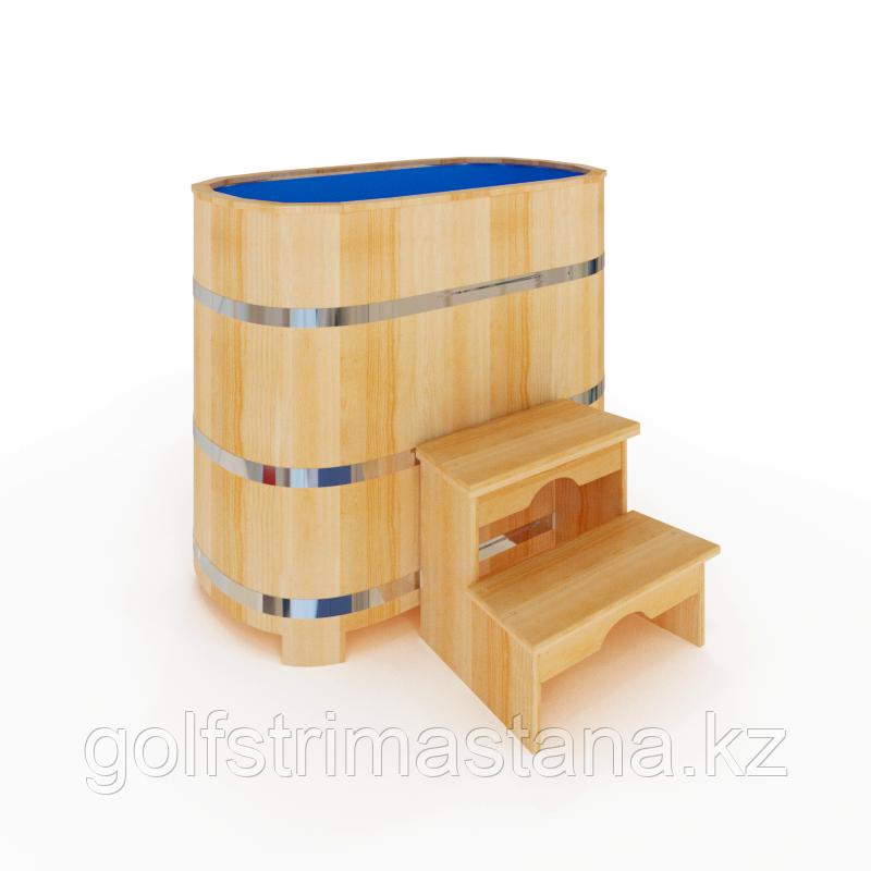Купель кедровая, Овальная, 120*78*120/4 см, с пластиковой вставкой, Премиум