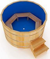 Купель кедровая, Круглая, 120*150/4 см, с пластиковой вставкой, Премиум, фото 1