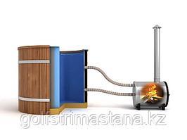 Фурако кедровая, Круглая, 120*200/3 см, с пластиковой вставкой, печь снаружи, Стандарт