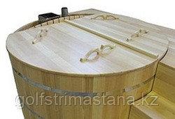 Крышка из кедра на купель, Овальная, д. 200 см