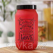 Банка для сыпучих продуктов «Любовь на кухне», 1 л, цвет красный
