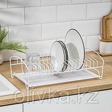 Сушилка для посуды с поддоном, 39×25×12 см, цвет белый