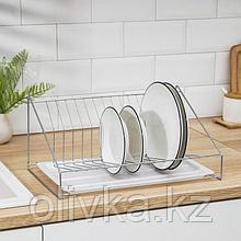 Сушилка для посуды с поддоном, 38×17,5×23,5 см, цвет хром