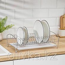 Сушилка для посуды с поддоном, 39×25×12 см, цвет хром
