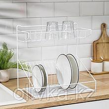 Сушилка для посуды с поддоном, 34,5×24,5×38 см, цвет белый