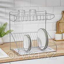 Сушилка для посуды с поддоном, 38×24×38 см, цвет хром