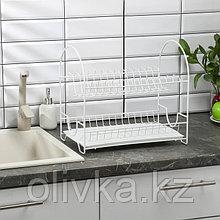 Сушилка для посуды 2-х ярусная «Люкс», 25×40×35 см, цвет белый