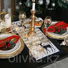 Дорожка на стол «Этель: Олени», 30 × 70 см, 100 % хлопок, саржа, 190 г/м²