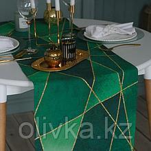 Дорожка на стол «Этель» Изумруд 40х146 см