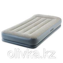 Кровать надувная Pillow Rest Twin, 99 х 191 х 30 см, с подголовником, со встроенным насосом, 64116 INTEX