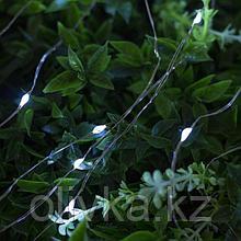 """Гирлянда """"Нить"""" 10 м роса, серебристая нить, 100 LED, свечение белое, 2 режима, солнечная батарея"""